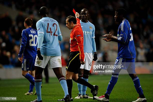Referee Vladimir Sajn sends off Mario Balotelli of Manchester Cityduring the UEFA Europa League round of 16 second leg match between Manchester City...