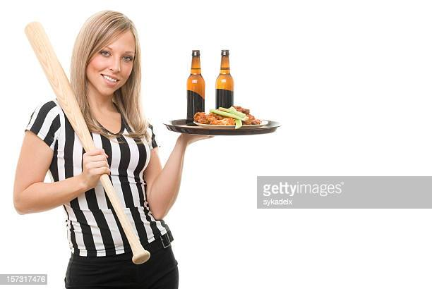 Referee Waitress Holding Bat