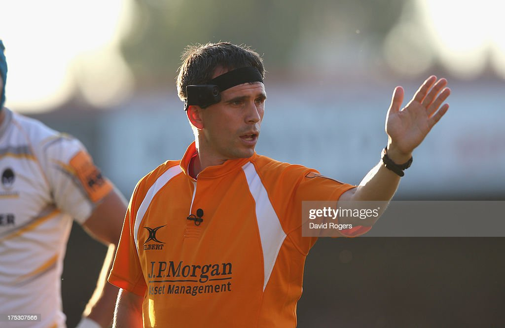 A referee wears a head camera as Premiership Rugby take part in Ref Cam trials during the J.P. Morgan Asset Management Premiership Rugby 7's held at Kingsholm Stadium on August 1, 2013 in Gloucester, England.