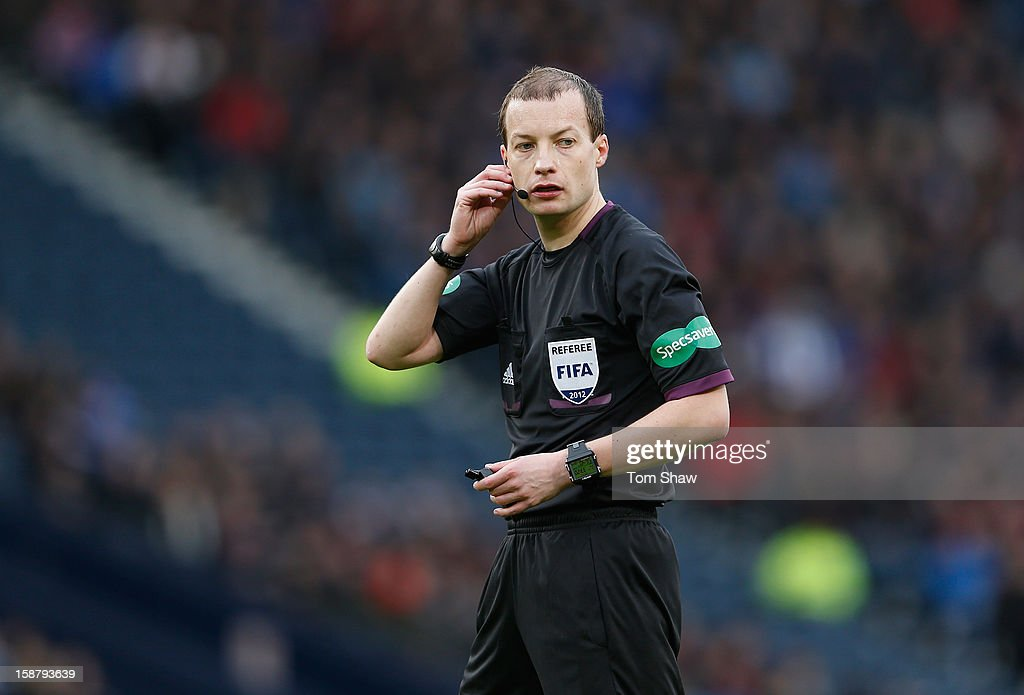 Referee William Collum looks on during the IRN-BRU Scottish Third Division match between Queens Park and Rangers at Hampden Park on December 29, 2012 in Glasgow, Scotland.