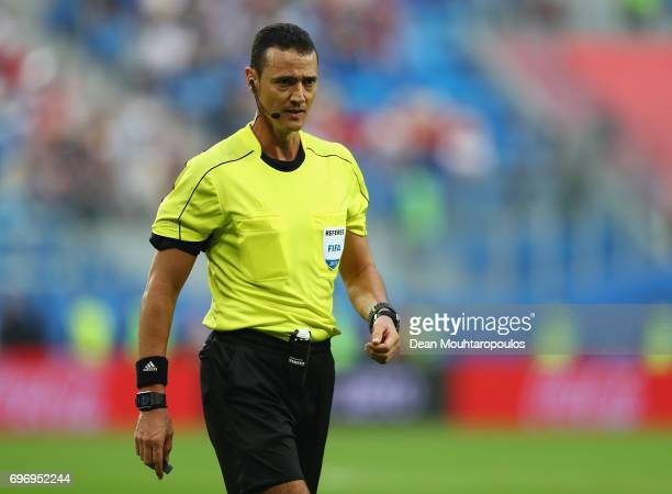Referee Wilmar Roldan looks on during the FIFA Confederations Cup Russia 2017 Group A match between Russia and New Zealand at Saint Petersburg...