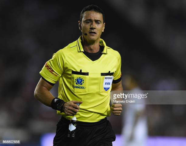 Referee Wilmar Roldan of Colombia looks on during a second leg match between Lanus and River Plate as part of the semifinals of Copa CONMEBOL...