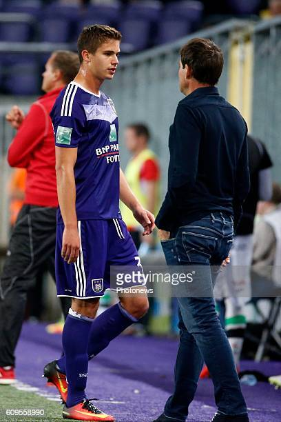 referee Wim Smet show the red card for Leander Dendoncker midfielder of RSC Anderlecht pictured during Croky Cup match between RSC Anderlecht and OHL...
