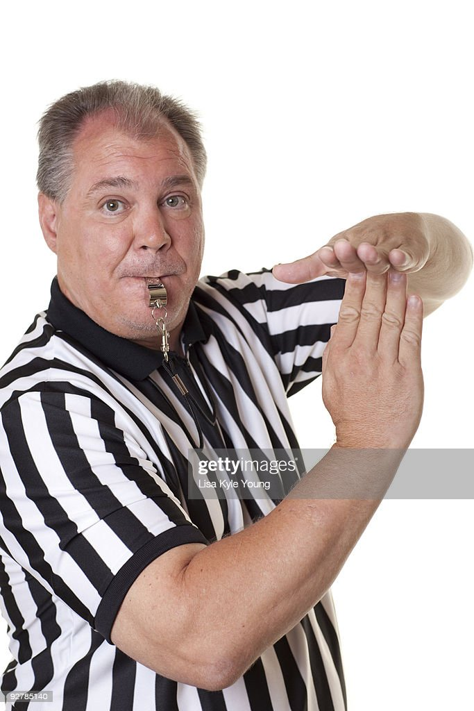 Referee with Time out signal and whistle