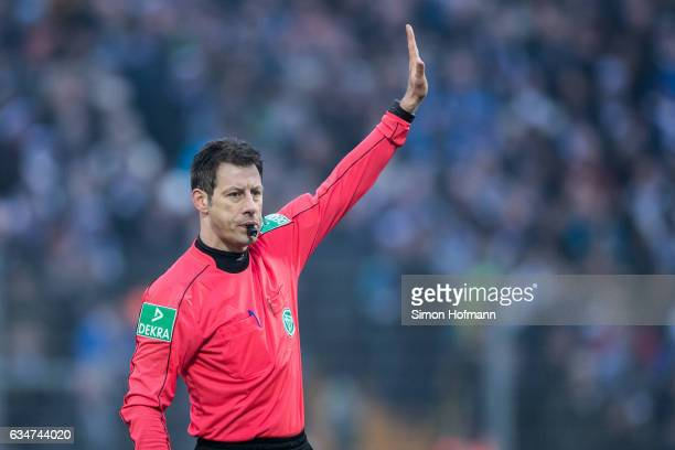 Referee Wolfgang Stark gestures during the Bundesliga match between SV Darmstadt 98 and Borussia Dortmund at Jonathan Heimes Stadion am...