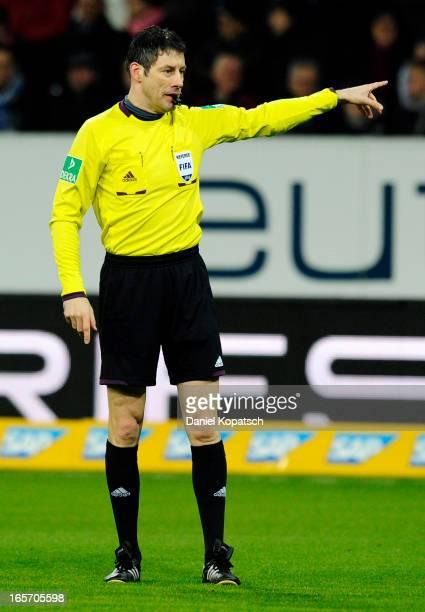 Referee Wolfgang Stark reacts during the Bundesliga match between TSG 1899 Hoffenheim and Fortuna Duesseldorf 1895 at RheinNeckarArena on April 5...