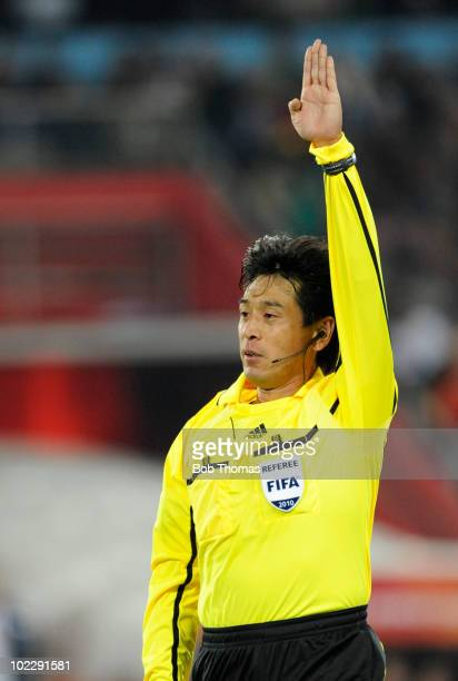 Referee Yuichi Nishimura of Japan during the 2010 FIFA World Cup South Africa Group H match between Spain and Honduras at Ellis Park Stadium on June...