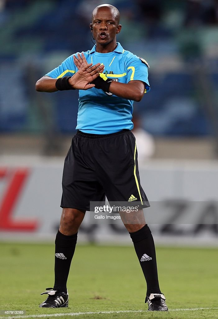 Referee Zolile Mthetho during the Absa Premiership match between Golden Arrows and Kaizer Chiefs at Moses Mabhida Stadium on December 19, 2013 in Durban, South Africa.