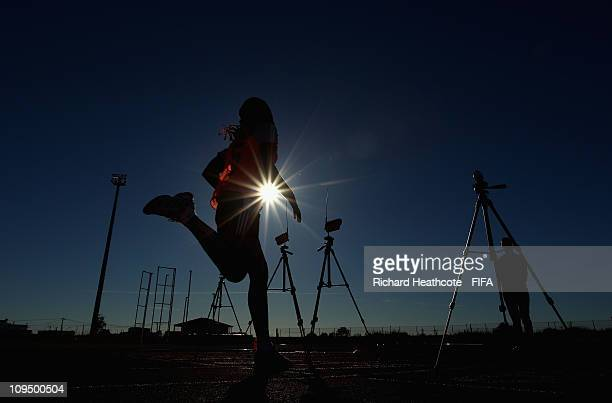 Referee's and Assistant Referee's are put through a fitness test during the FIFA Women's Referees Training Camp ahead of the 2011 Algarve Cup on...