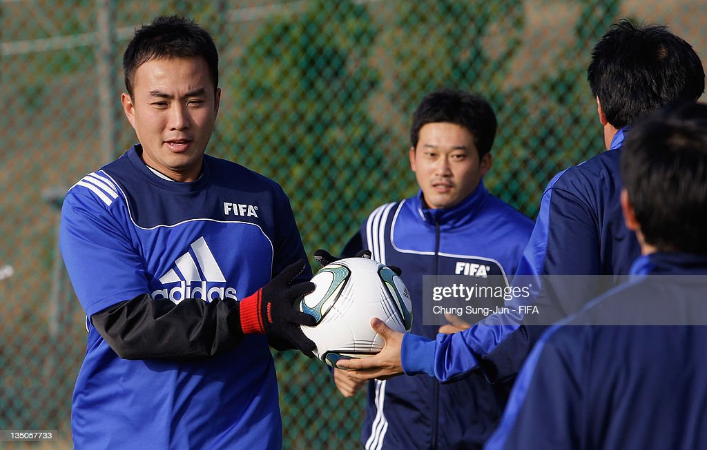 Referee's and Assistant Referee's take part in a training session of the FIFA Refereeing Course on December 6 2011 in Changwon South Korea Following...