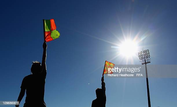 Referee's and Assistant Referee's take part in a training session during the FIFA Women's Referees Training Camp ahead of the 2011 Algarve Cup on...