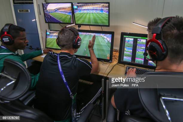 Referees are seen in the Video Assistant Referee Box during the FIFA U20 World Cup Korea Republic 2017 group F match between Saudi Arabia and Senegal...