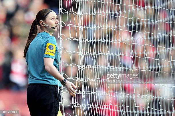 Referee's assistant Sian Massey checks the net before the English FA Cup fifth round football match between Arsenal and Blackburn Rovers at the...