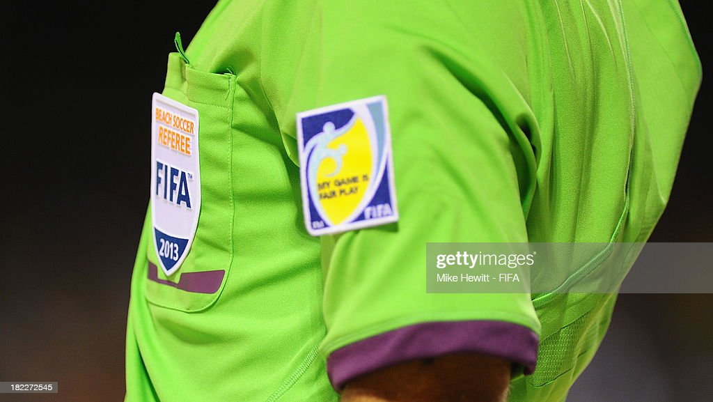 A referee's badge during the FIFA Beach Soccer World Cup Tahiti 2013 Final between Spain and Russiai at the Tahua To'ata Stadium on September 28, 2013 in Papeete, French Polynesia.