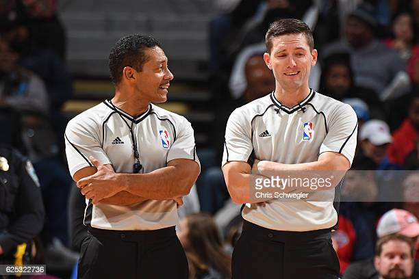 Referees Bill Kennedy and Ben Taylor officiate the Houston Rockets game against the Detroit Pistons on November 21 2016 at The Palace of Auburn Hills...