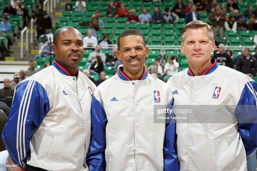 Referees Courtney Kirkland Eric Lewis and Steve Javie pose for a photo before the Milwaukee Bucks game against the Utah Jazz at EnergySolutions Arena...