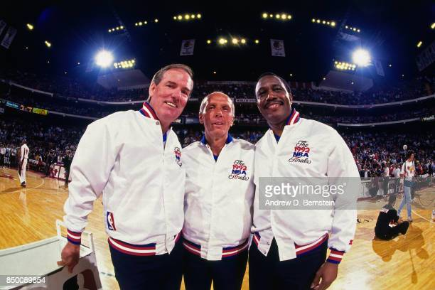 Referees Dick Bavetta Hue Hollins and Jake O'Donnell pose for a photo before the 1992 NBA Finals Game One between the Portland Trail Blazers against...