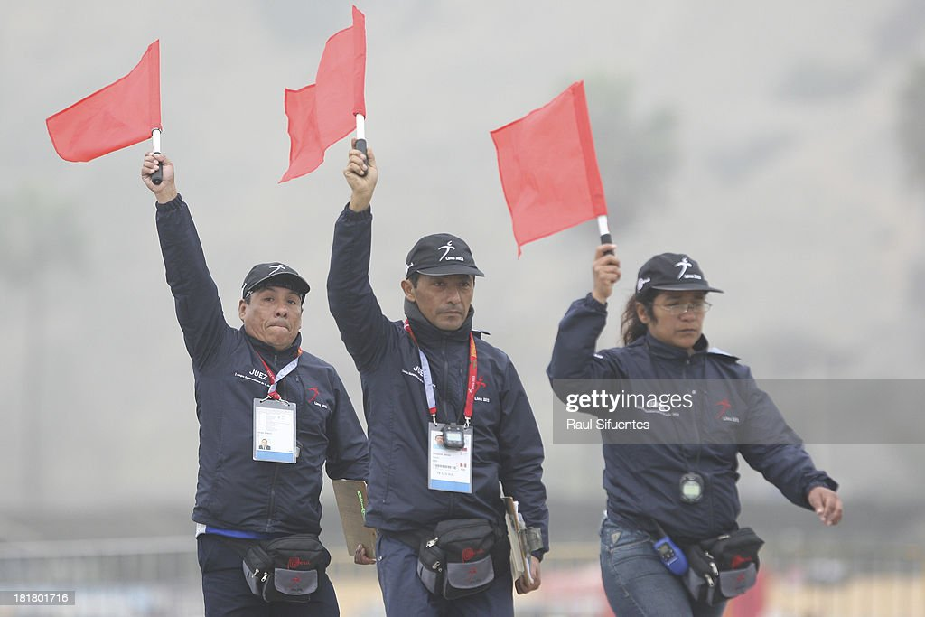 Referees during the Triathlon Mixed Team event as part of the I ODESUR South American Youth Games at Circuito Costa Verde Chorrillo on September 25, 2013 in Lima, Peru.