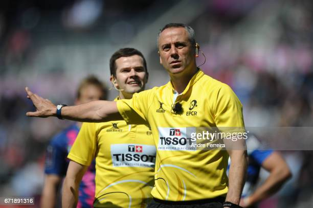 Referees John Lacey and Sean Gallagher during the European Challenge Cup semi final between Stade Francais and Bath on April 23 2017 in Paris France