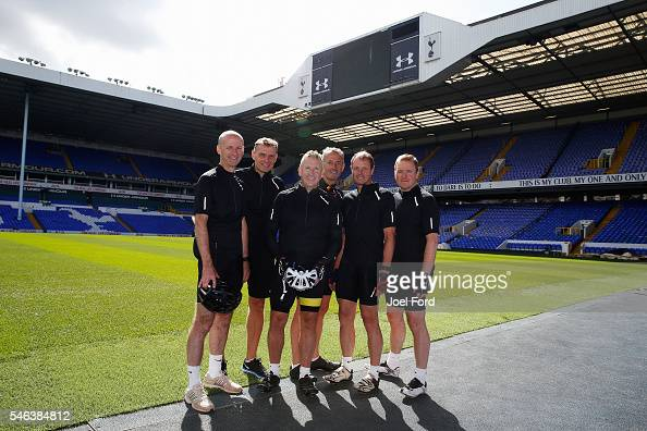 Referees Mike Riley Graham Scott Jon Moss and Martin Atkinson with support riders Andy Alderson and Jim Butters at Vicarage Road Stadium Watford...