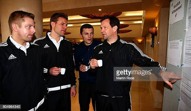 Referees of the Bundesliga attend the referee course during the DFB Referee Course at the Hilton Sa Torre Hotel Mallorca on January 14 2016 in Palma...