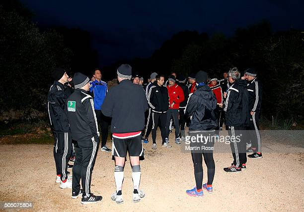 Referees of the Bundesliga run during a morning run during the DFB Referee Course at the Hilton Sa Torre Hotel Mallorcaon January 15 2016 in Palma de...