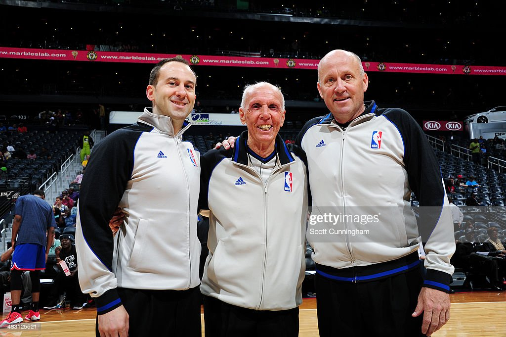 Referees of the NBA take a picture before the game with the Philadelphia 76ers against the Atlanta Hawks on March 31, 2014 at Philips Arena in Atlanta, Georgia.