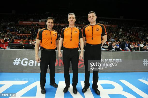 Referees pictured prior to the 2016/2017 Turkish Airlines EuroLeague Regular Season Round 29 game between Anadolu Efes Istanbul v Olympiacos Piraeus...