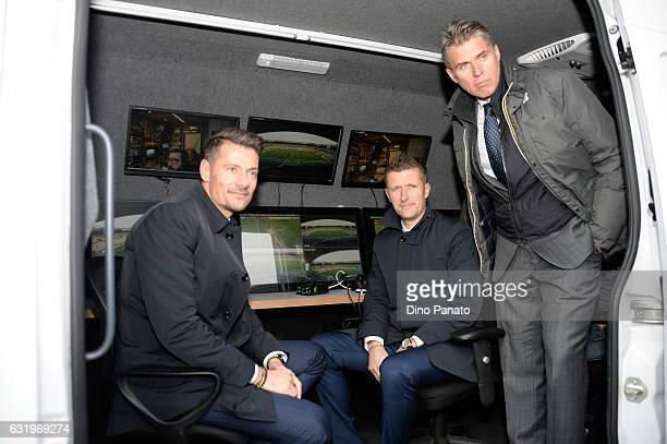 Referees Piero Giacomelli Daniele Orsato and Roberto Rosetti in VAR monitor studio during the U19 International Friendly match between Italy and...