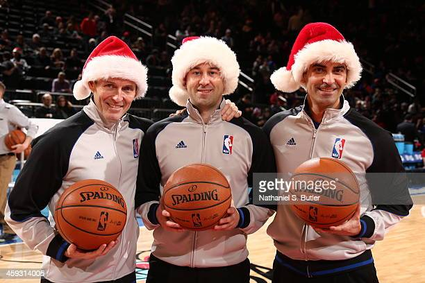 NBA referees pose for a photo before the Oklahoma City Thunder play the New York Knicks on Christmas Day at Madison Square Garden in New York City on...