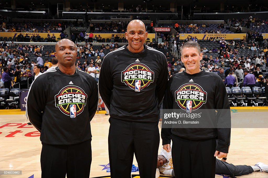 Referees Scott Foster Courtney Kirkland and Kevin Cutler pose for a photo before the Brooklyn Nets game against the Los Angeles Lakers at STAPLES...