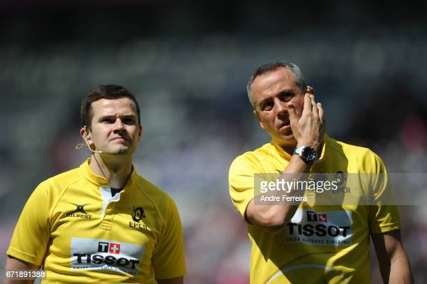 Referees Sean Gallagher and John Lacey during the European Challenge Cup semi final between Stade Francais and Bath on April 23 2017 in Paris France