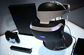 A reference model of the Sony PlayStation VR viewer is on display with a PlayStation 4 System during a press event for CES 2016 at the Mandalay Bay...