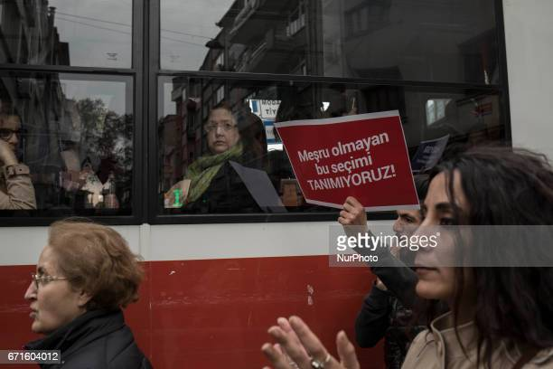 Referendum protest continues in Turkey The picture show the protesters march at the Besiktas neighborhood of Istanbul on April 22 2017