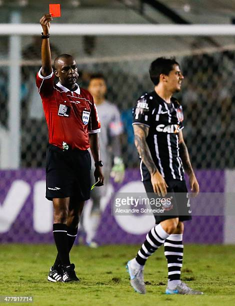 Referre Luis Flavio de Oliveira in action during the match between Santos and Corinthians for the Brazilian Series A 2015 at Vila Belmiro stadium on...