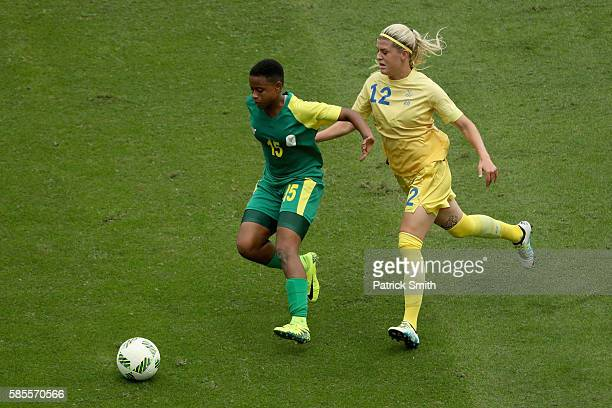 Refiloe Jane of South Africa battles for the ball against Olivia Schough of Sweden during the Women's Group E first round match between Sweden and...