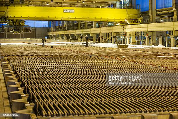 Refinement of copper copper tankhouse of Aurubis AG which produces copper cathodes from the copper anodes on December 04 in Hamburg Germany Aurubis...