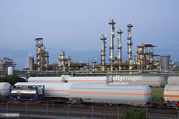 Refinery And Railroad Cars