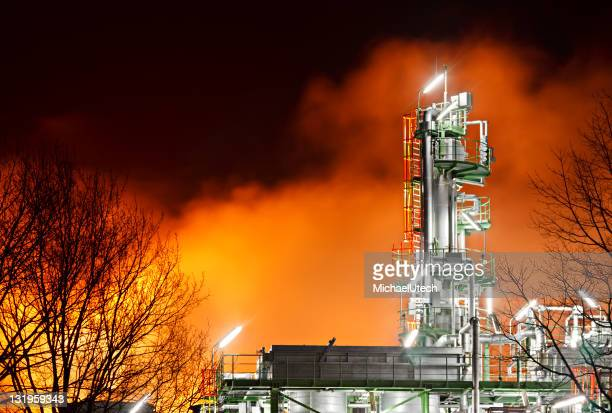 Refinery Detail With Red Glow