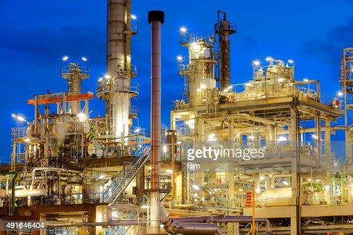Refinery Illuminated at Dusk