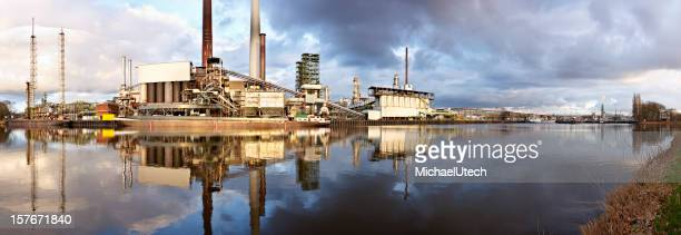 Refinery With Reflection Panorama