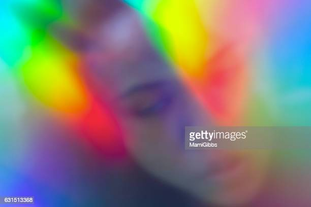 Reflected  the hologrampaper girl's face