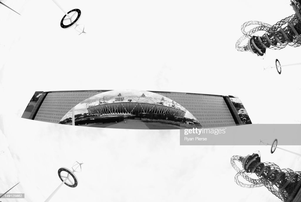 A reflected view of the Olympic Stadium at Olympic Park on July 21, 2012 in London, England.