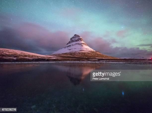 reflection aurora Kirkjufell