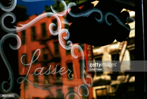 A reflection in a window in Greenwich Village New York City circa 1970