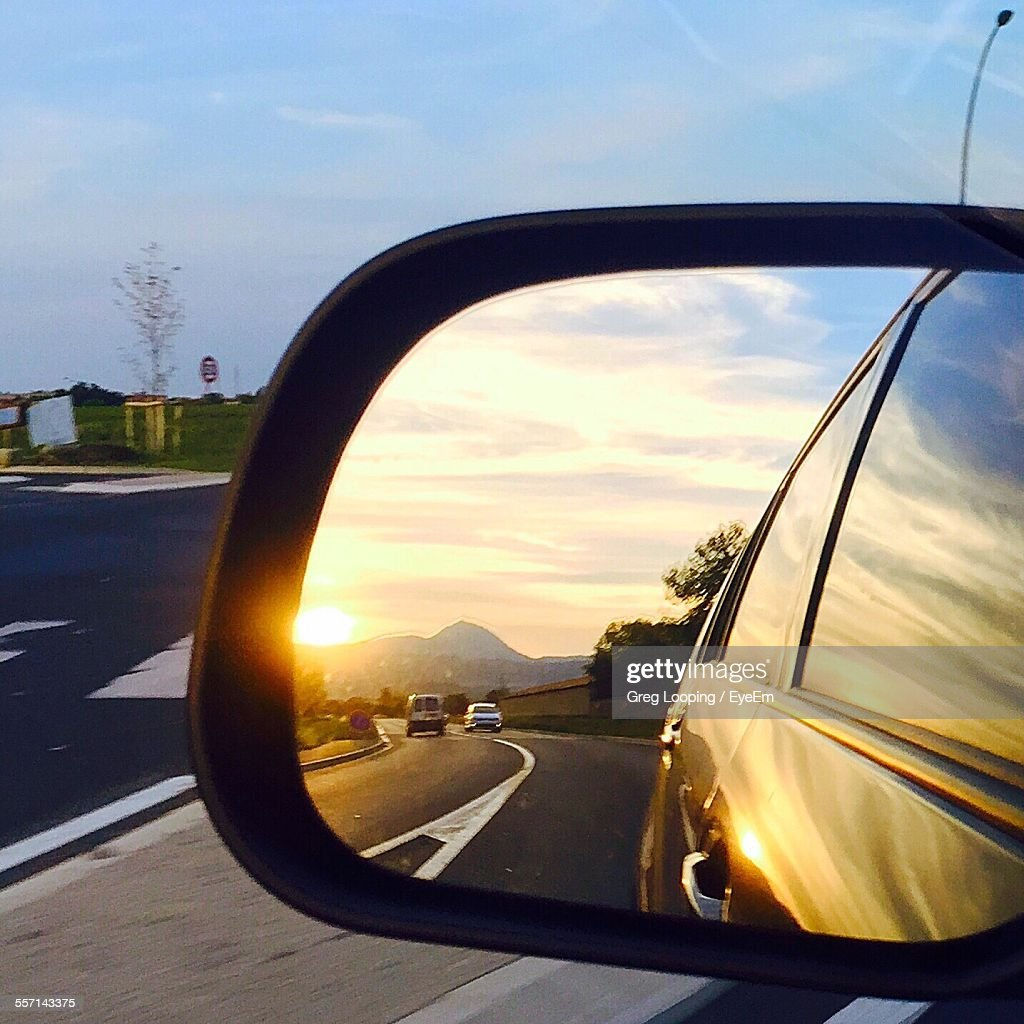 Reflection in side mirror stock photo getty images for Mirror reflection