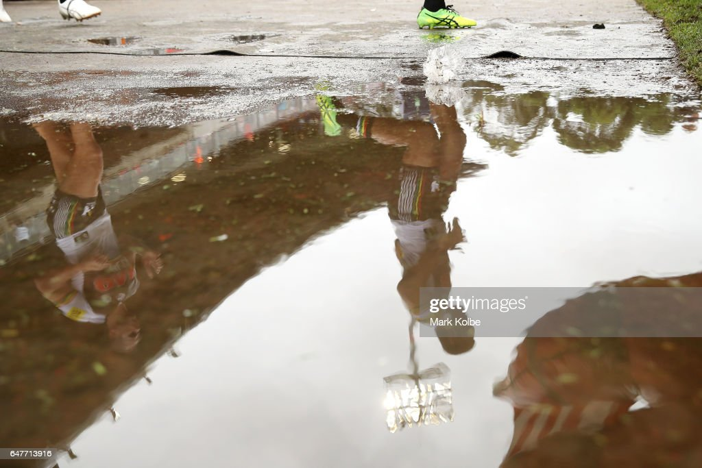A reflection is seen as the Panthers run out during the round one NRL match between the St George Illawarra Dragons and the Penrith Panthers at UOW Jubilee Oval on March 4, 2017 in Sydney, Australia.