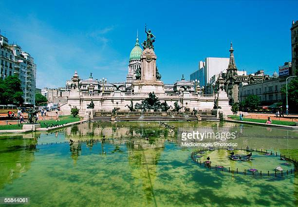Reflection of a building in a fountain, Plaza del Congreso, Congress Square, Buenos Aires, Argentina