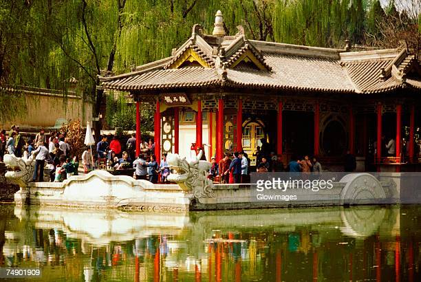 Reflection of a building in water, Xian, China