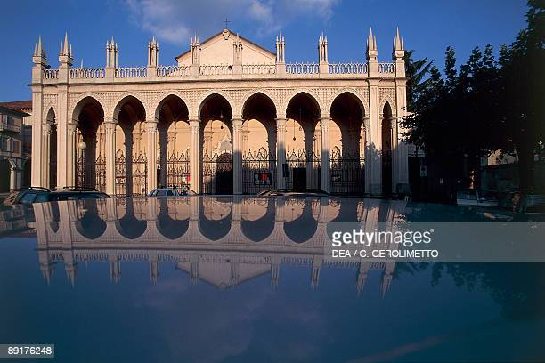 Reflection of a cathedral in water Biella Piedmont Italy
